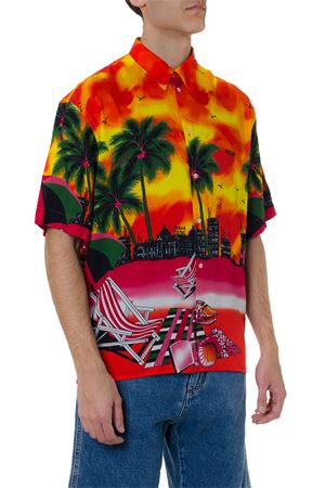 MULTICOLOR VISCOSE CALIFORNIA BEACH PRINT SHIRT SS19 MSGM | 9 | 2640ME11B19505810