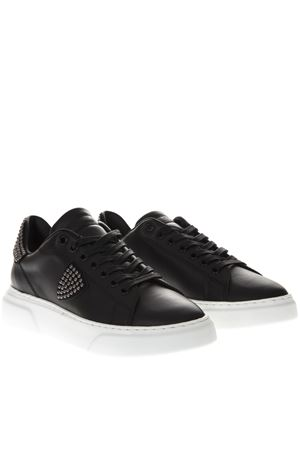 SNEAKERS NERE IN PELLE CON MINI BORCHIE PE19 PHILIPPE MODEL | 55 | BGLDUNISD02