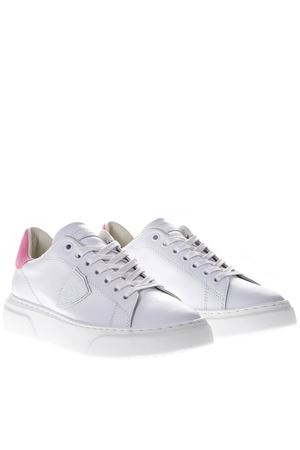 TEMPLE RUNNER WHITE LEATHER  SNEAKERS FUXIA SUEDE SS 2019 PHILIPPE MODEL | 55 | BGLDUNIVN01