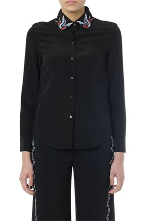 BLACK SILK SHIRT WITH EMBROIDERED COLLAR SS 2019 RED VALENTINO | 9 | RR0ABA7023HUNI0NO