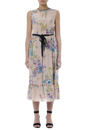 DRESS IN SILK NUDE COLOR RAMAGE PARROTS PRINT SS 2019 RED VALENTINO | 32 | RR0VAC43JTDUNI377