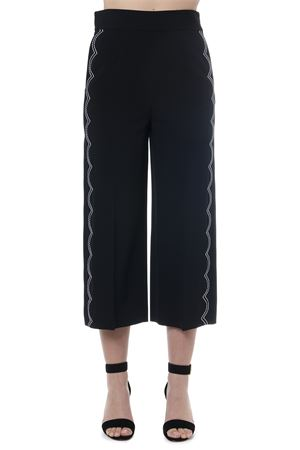 BLACK CROPPED PANTS WITH CONTRASTING STITCHES SS 2019 RED VALENTINO | 8 | RR3RBA002EUUNI0NO