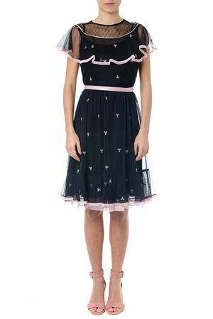 BLACK FLOUNCES MEDIUM CUT DRESS SS19 RED VALENTINO | 32 | RR3VA01HRWTUNI0NO