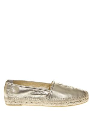 PLATINUM METALLIC LEATHER ESPADRILLES WITH LOGO SS 2019 SAINT LAURENT | 144 | 4585730XQ007100