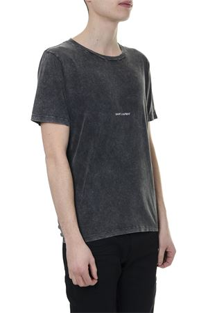 FADED BLACK COTTON T SHIRT WITH LOGO SS 2019 SAINT LAURENT | 15 | 498281YB2LO1059