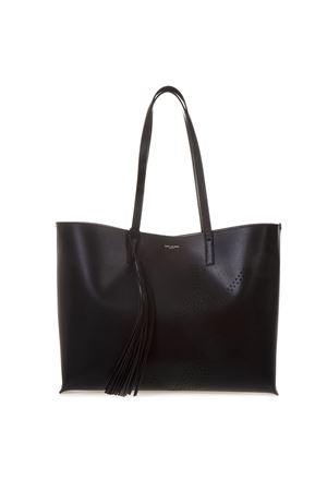 BLACK LEATHER SHOPPER BAG WITH PERFORATED YSL LOGO SS 2019 - SAINT ... 241589b36a
