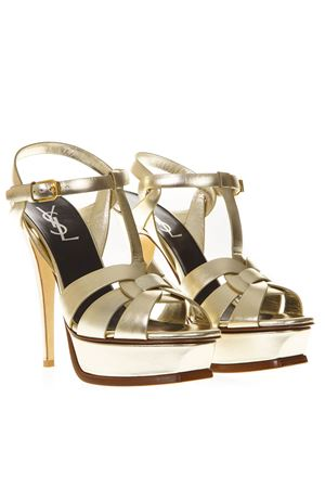 TRIBUTE PLATINUM METALLIC LEATHER SANDALS SS 2019 SAINT LAURENT | 87 | 5342770PS007100