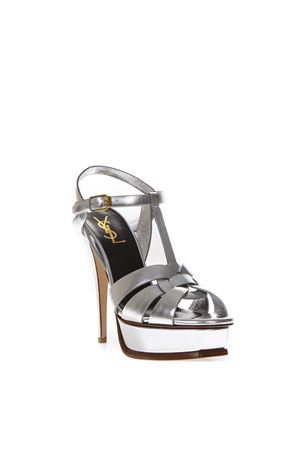 TRIBUTE SILVER METALLIC LEATHER SANDALS SS 2018 SAINT LAURENT | 87 | 5342770PS008105