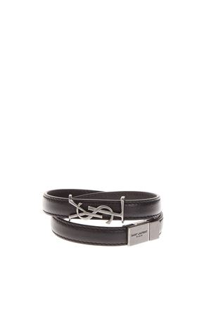 BLACK LEATHER BRACELET WITH YSL LOGO SS 2019 SAINT LAURENT | 59 | 536073BOO0D1000