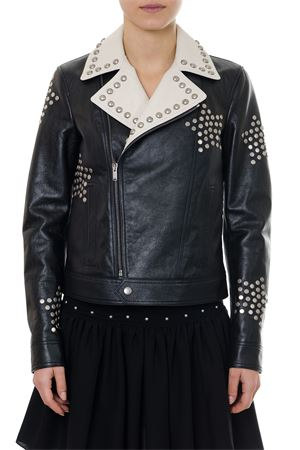 GIUBBOTTO BIKER NERO IN PELLE RICAMATO CON BORCHIE PE 2019 SAINT LAURENT | 27 | 548002YC2UK1985
