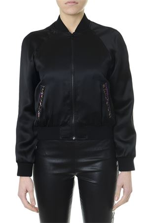 BLACK SATIN PADDED BOMBER JACKET WITH SAINT LAURENT EMBROIDERY SS 2019 SAINT LAURENT | 27 | 552916Y161W1000