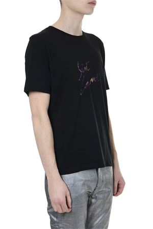 T SHIRT IN COTONE NERO CON STAMPA LOGO PE 2019 SAINT LAURENT | 15 | 553378YBCL21068