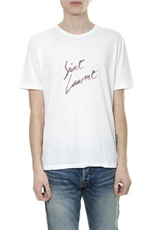 WHITE COTTON T SHIRT WITH LOGO PRINT SS 2019 SAINT LAURENT | 15 | 553378YBCL28486