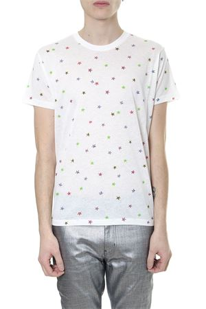 WHITE COTTON T SHIRT WITH STARS PRINT SS 2019 SAINT LAURENT | 15 | 553424YBDC28486