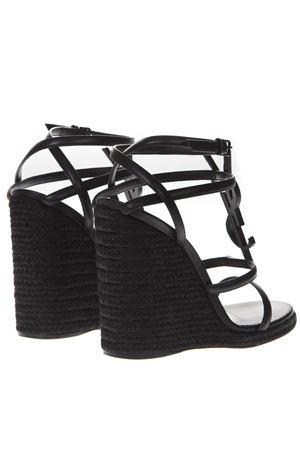 a9e80ba01073 BLACK CASSANDRA WEDGE ESPADRILLES IN LEATHER SS 2019 - SAINT LAURENT ...