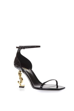 BLACK PATENT LEATHER SANDALS WITH YSL LOGO HEEL SS 2019 SAINT LAURENT | 87 | 5576790NPKK1000