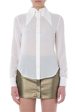 OVERSIZED COLLAR WHITE SILK SHIRT SS 2019 SAINT LAURENT | 9 | 568623Y059R9601
