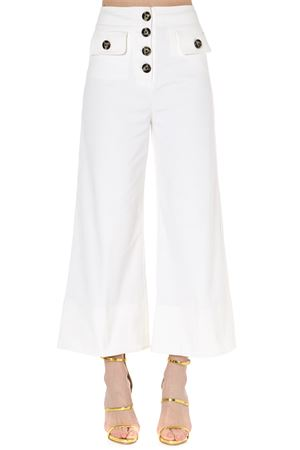 WHITE HIGH-WAISTED COTTON TROUSERS SS 2019 SELF PORTRAIT | 8 | SP21-001WIVORY CANVASIVORY