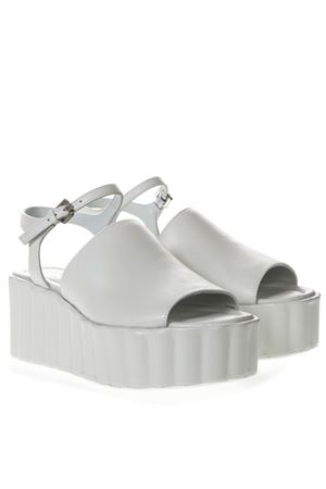 70MM WEDGED WHITE LEATHER SANDAL SS19 STRATEGIA | 87 | W19NAPPABIANCO
