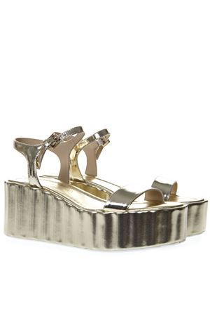 70MM WEDGED GOLD LEATHER SANDAL SS19 STRATEGIA | 87 | W20SPECCHIOPLATINO