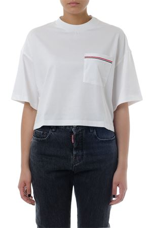 WHITE COTTON CROPPED T-SHIRT SS 2019 THOM BROWNE | 16 | FJS032A00042100