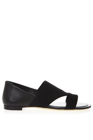 BLACK LEATHER & SUEDE LOW SANDALS SS19 TOD