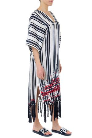 AWNING LINEN WHITE & BLUE STRIPED CAFTAN SS19 TORY BURCH | 32 | 54796AWNING495