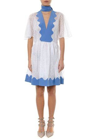WHITE AND ANGEL DAMIER ORGANDIS DRESS SS 2019 VALENTINO | 21 | RB3VAL404FRIY7