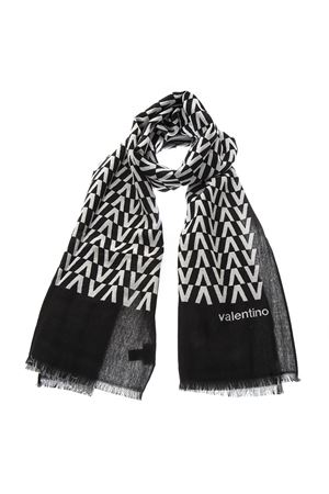 BLACK & GREY WOOL AND SILK SCARF SS19 VALENTINO | 20 | RU2ED020XLS0NA