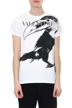 TOUCAN PRINTED WHITE T SHIRT IN COTTON SS 2019 VALENTINO | 15 | RV3MG00YEQR0BO