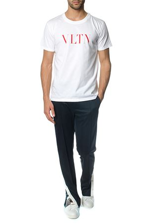 WHITE COTTON T-SHIRT WITH VLTN LOGO SS 2019 VALENTINO | 15 | RV3MG10V3LE0BO