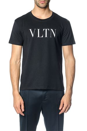 BLACK COTTON T-SHIRT WITH VLTN LOGO SS 2019 VALENTINO | 15 | RV3MG10V3LE0NO