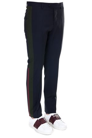 NAVY AND GREEN WOOL TROUSERS SS 2019 VALENTINO | 8 | RV3RBB80RCC598