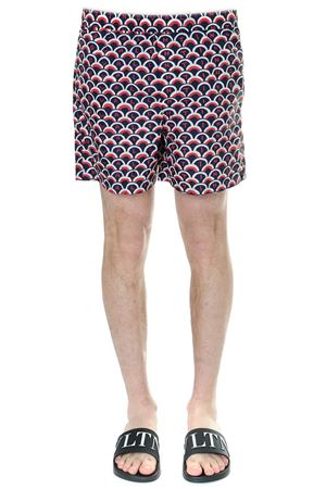 BLU AND RED OPTICAL PRINTED SWIM SHORTS SS 2019 VALENTINO | 110000034 | RV3UH028GQWDJA