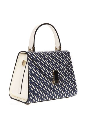 BLUE AND IVORY ISIDE GRAPHIC LEATHER PRINTED BAG SS 2019 VALEXTRA | 2 | V5E36P5350WR0ONICE/ORO