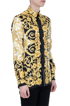 BLACK AND GOLD SILK SHIRT WITH ICONIC GOLD HIBISCUS PRINT SS 2018 VERSACE | 9 | A75980A228119A771
