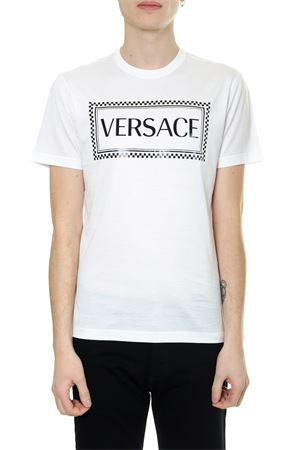WHITE ECO SUSTAINABLE COTTON T SHIRT WITH 90S VINTAGE LOGO SS 2019 VERSACE | 15 | A81548A201952A001