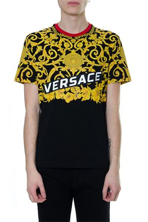 GOLD HIBISCUS BICOLOR TSHIRT IN COTTON SS 2019 VERSACE | 15 | A81880A224589A708