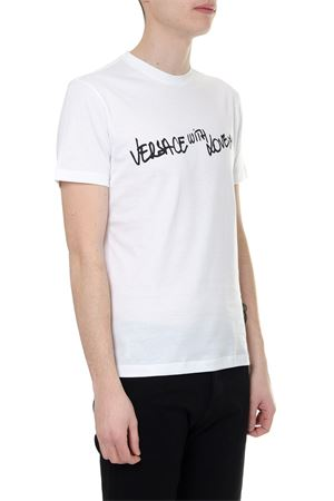 WHITE TSHIRT VERSACE WITH LOVE IN ECO SUSTAINABLE COTTON SS 2019 VERSACE | 15 | A81882A228806A911