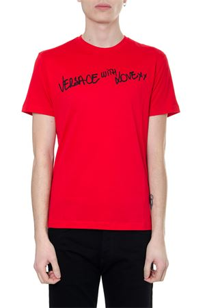 RED TSHIRT VERSACE WITH LOVE IN ECO-SUSTAINABLE COTTON SS 2019 VERSACE | 15 | A81882A228806A944