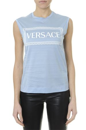 EMBROIDERED LOGO TANK TOP AZURE & WHITE SS 2019 VERSACE | 15 | A82235A201952A2428