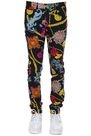 SLIM FIT JEANS JEWELLERY MULTICOLOR PRINT IN DENIM SS 2019 VERSACE | 8 | A82718A229253A72W
