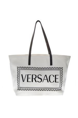 WHITE COTTON LOGO TOTE BAG SS19 VERSACE | 2 | DBFG780D2CLVDBN