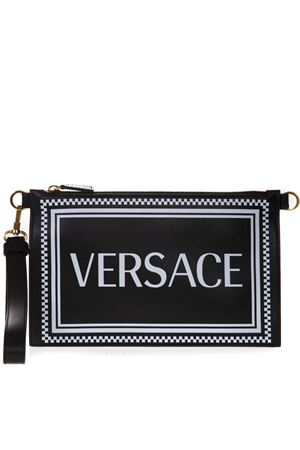 BLACK LEATHER CLUTCH WITH LOGO SS 2019 VERSACE | 2 | DP8F786LD5VSVK41OT