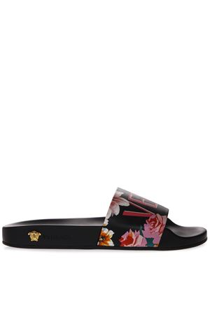 BLACK SLIDE IN LEATHER AND RUBBER WITH FLORAL PRINT SS 2019 VERSACE | 87 | DSR610CDV13DNMOH