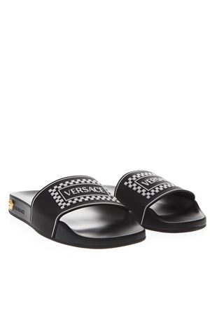 BLACK  LEATHER SLIDES WITH VERSACE LOGO SS 2019 VERSACE | 87 | DSR822CDGOSVDNWOT