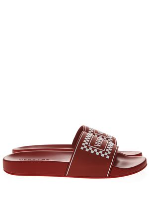 RED LEATHER SLIDES WITH VERSACE LOGO SS 2019 VERSACE | 87 | DSU7318DGOXGDRW