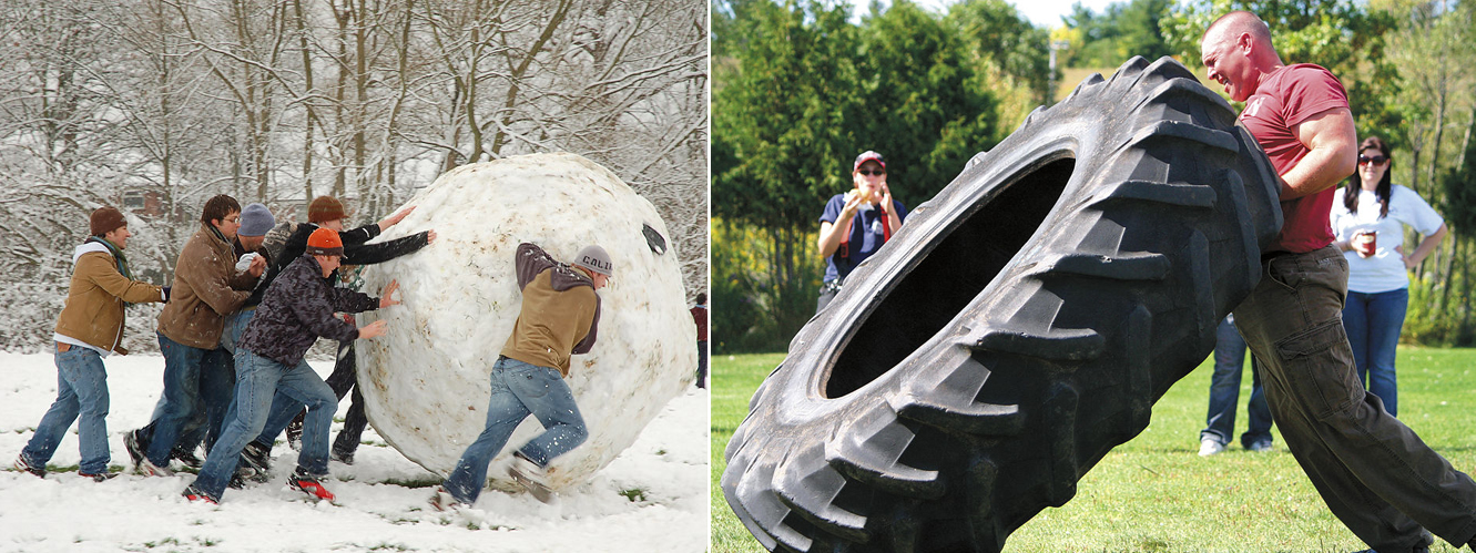 Giant snowball roll and tire flip
