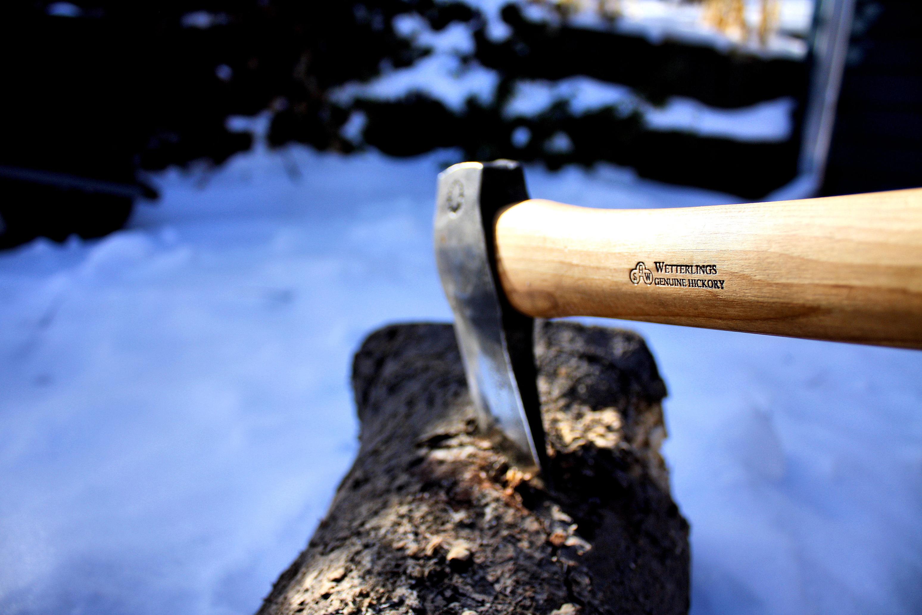 Axe chopping wood