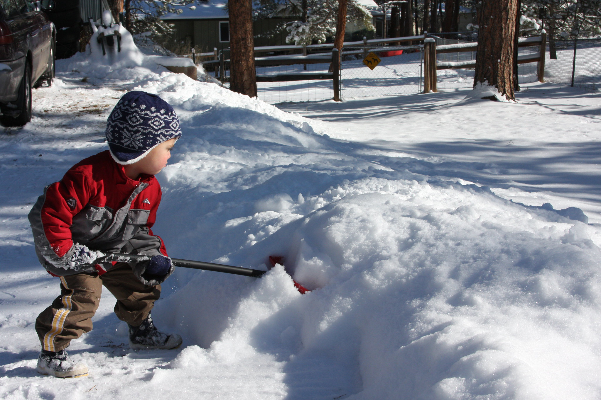 Kid shoveling snow